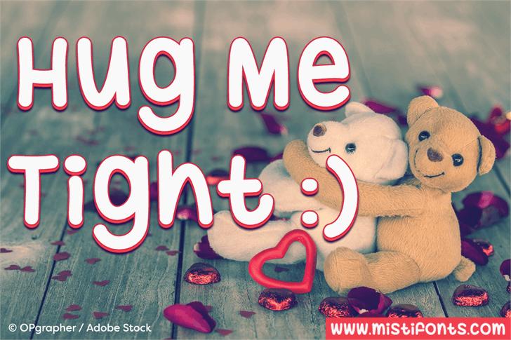Hug Me Tight Font cartoon birthday cake