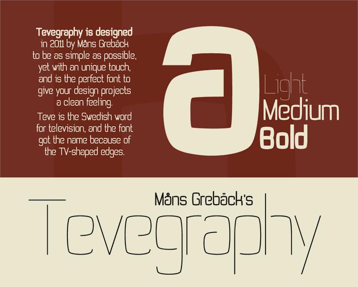 Tevegraphy Font screenshot design