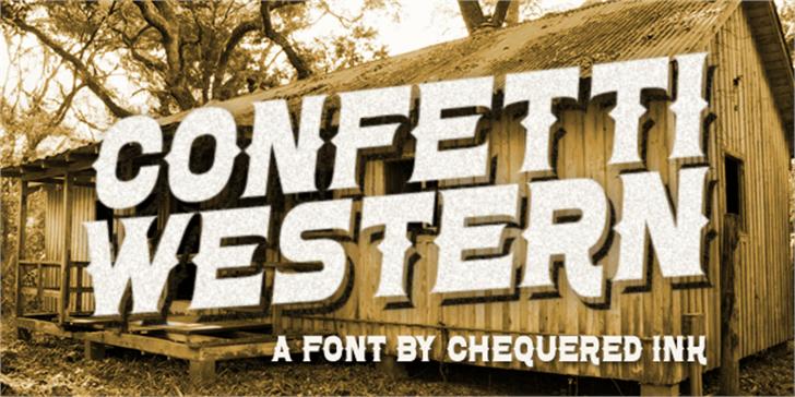 Confetti Western Font handwriting sign