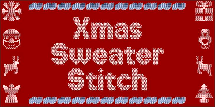 Xmas Sweater Stitch Font vector graphics pattern