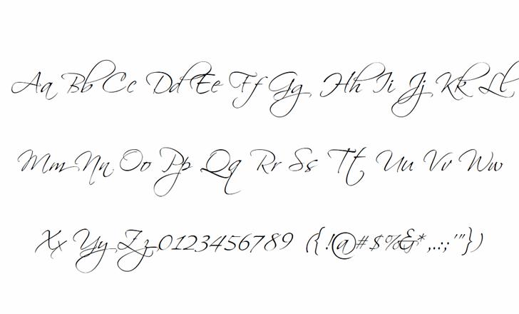Scriptina Font Letters Charmap