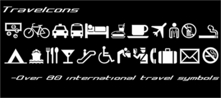 Travelcons Font design screenshot