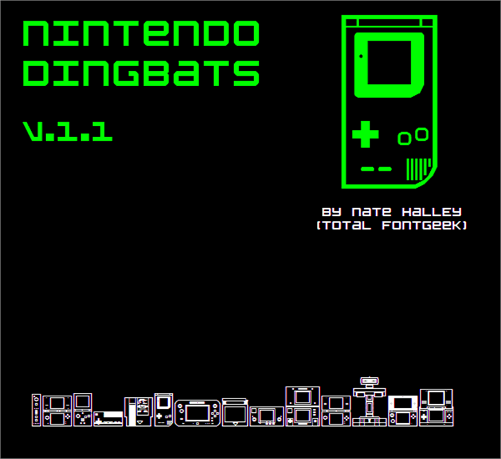 Nintendo Dingbats NBP Font screenshot clock