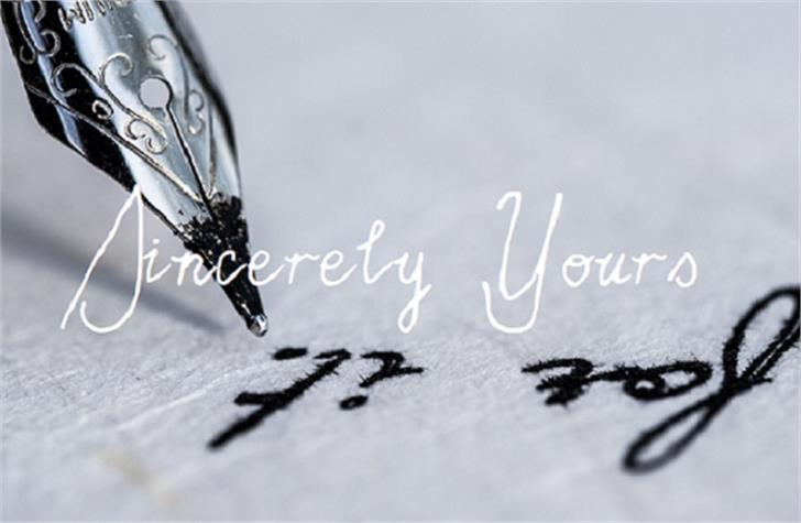 Sincerely Yours Font handwriting stationary