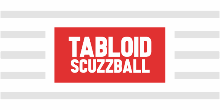 Tabloid Scuzzball Font design abstract