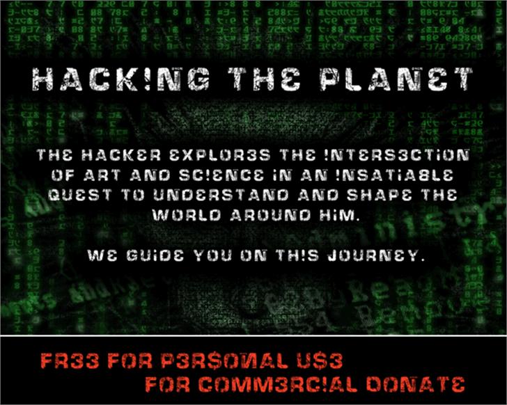 HackingTrashed Font screenshot text