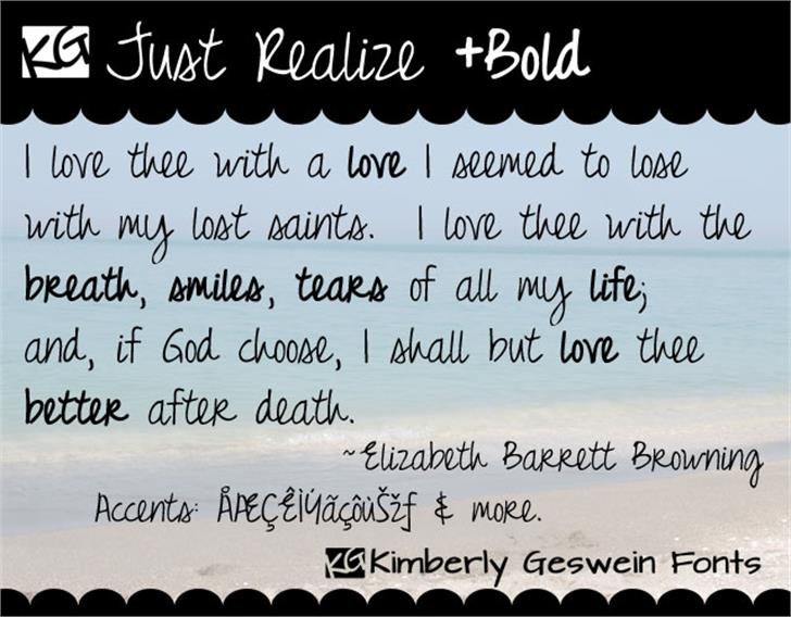 Just Realize font by Kimberly Geswein