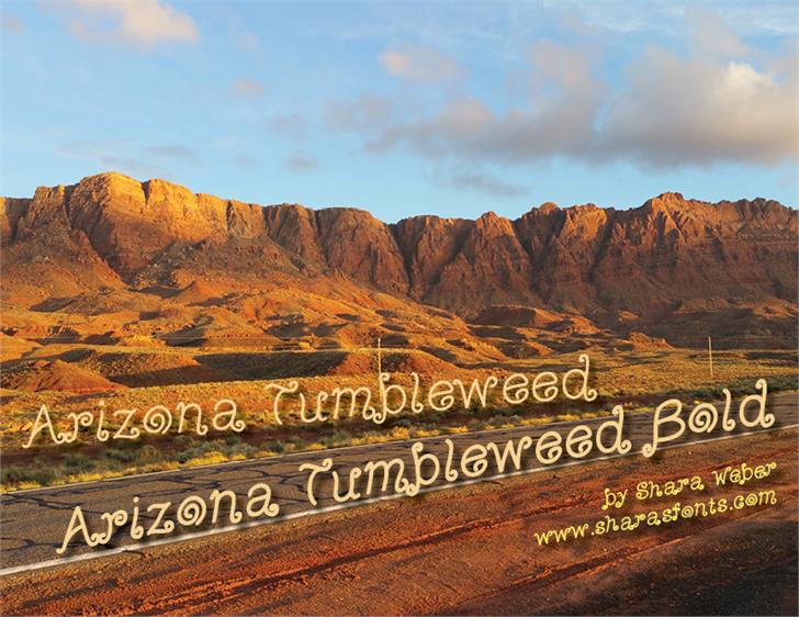 ArizonaTumbleweedBold Font mountain cloud