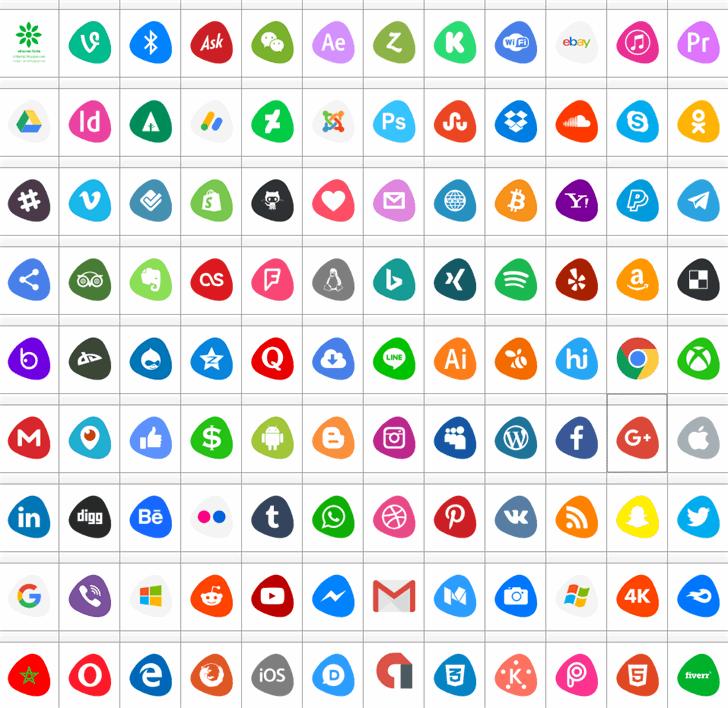 Social Logos Color font by elharrak