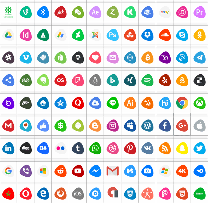 Social Logos Color Font screenshot colorfulness