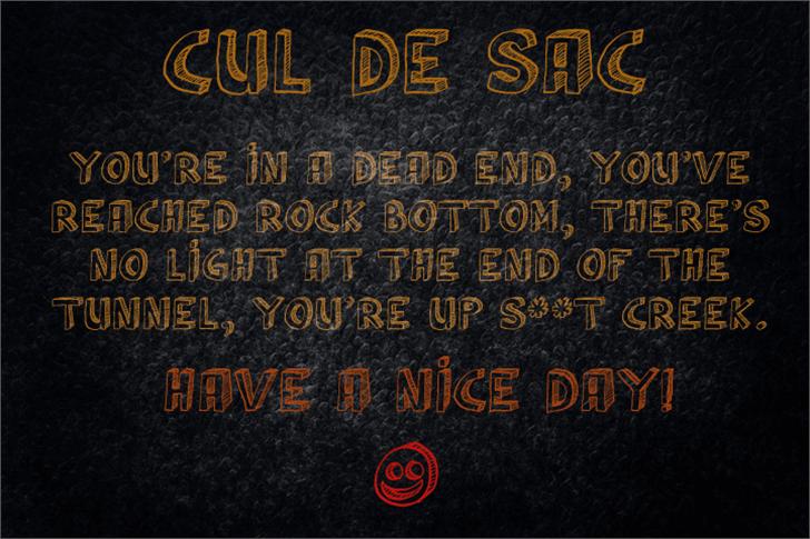 Cul De Sac font by David Kerkhoff