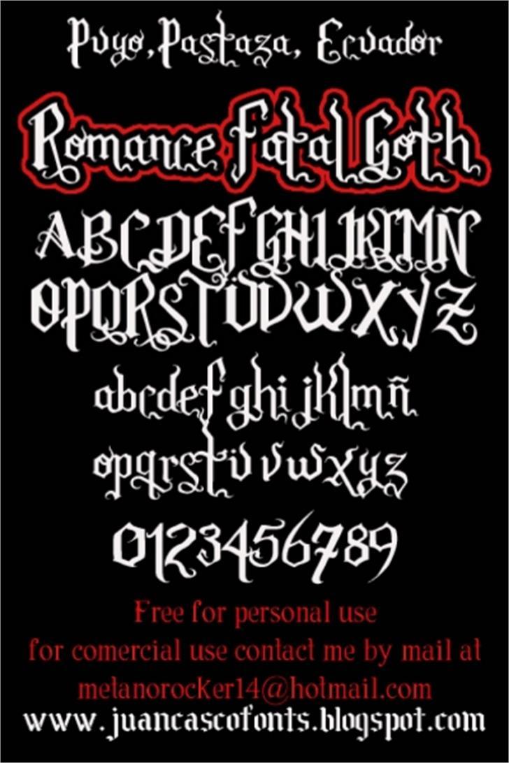 Romance Fatal Goth Font handwriting text
