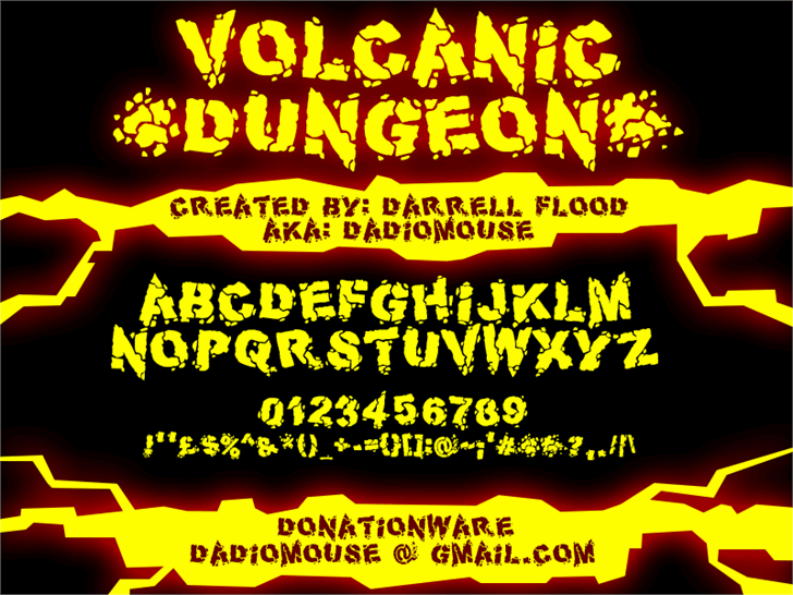 Volcanic Dungeon Font book text