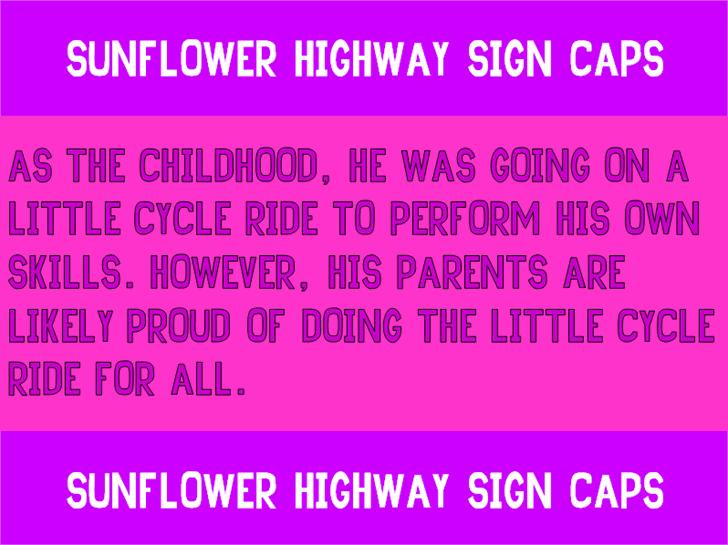 Sunflower Highway Sign Caps Font magenta violet