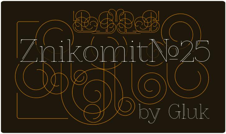 ZnikomitNo25 font by gluk