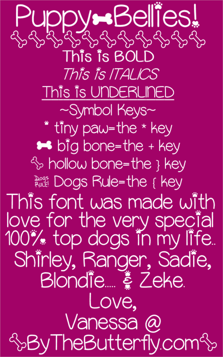 PuppyBellies font by ByTheButterfly