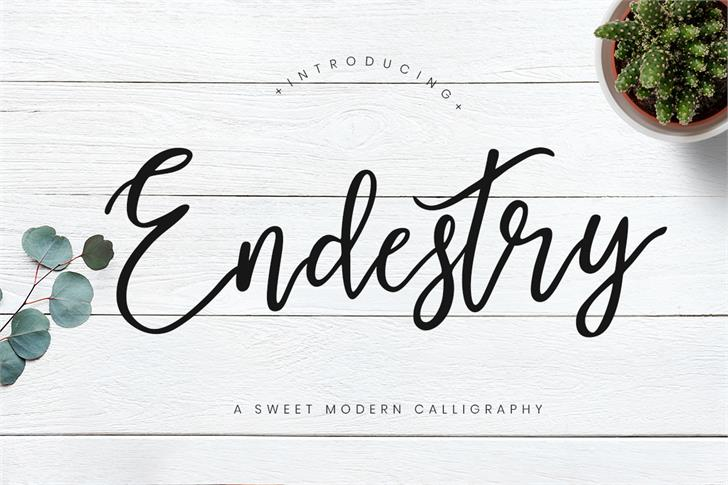 Endestry Font handwriting text