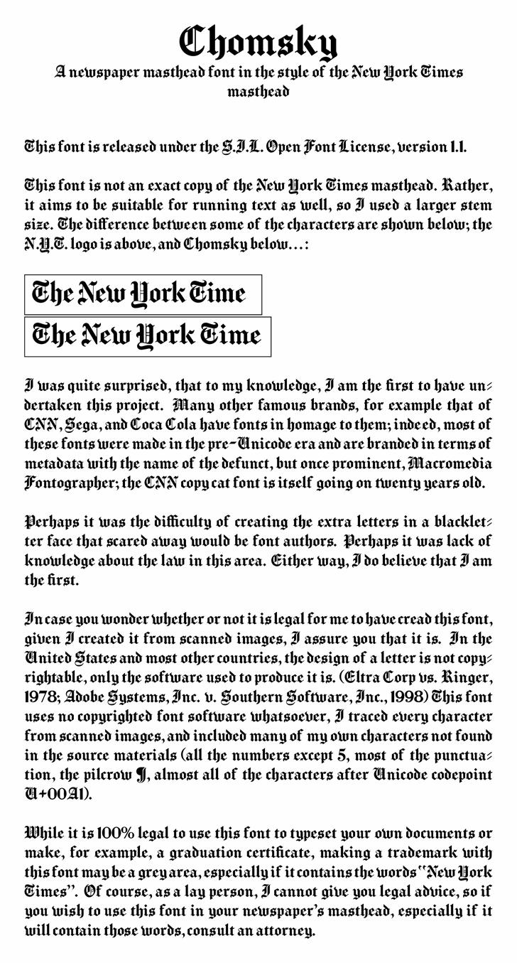 Chomsky Font text screenshot