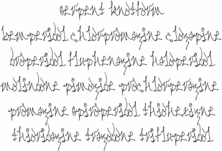 Serpent Knotform Font handwriting letter