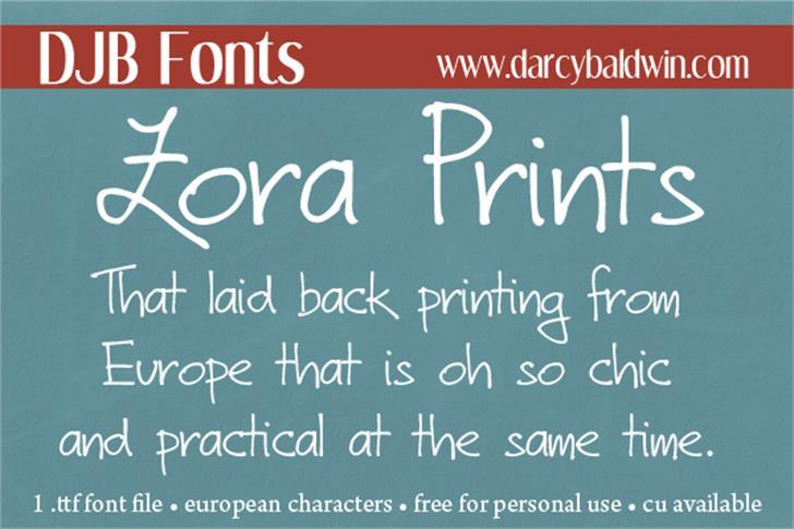 DJB Zora Prints Font text handwriting