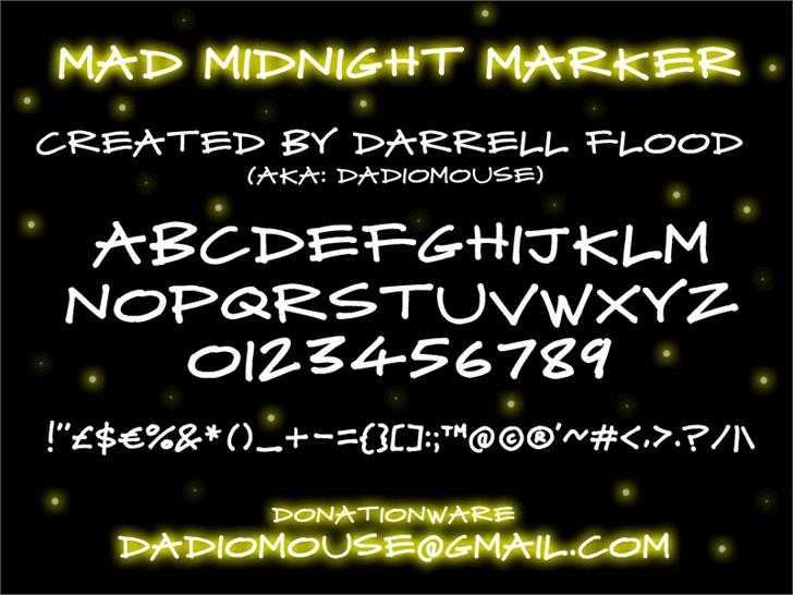 Mad Midnight Marker font by Darrell Flood