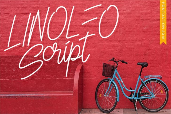 Linoleo Script Font bicycle outdoor