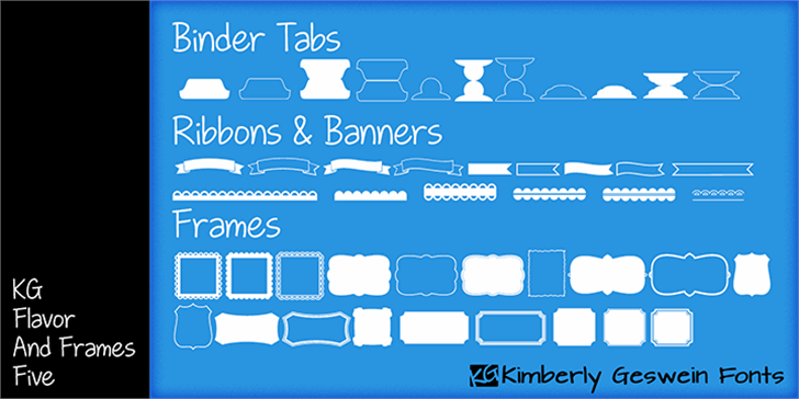 KG Flavor and Frames Five font by Kimberly Geswein