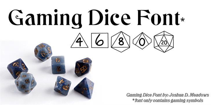 GamingDice Font design