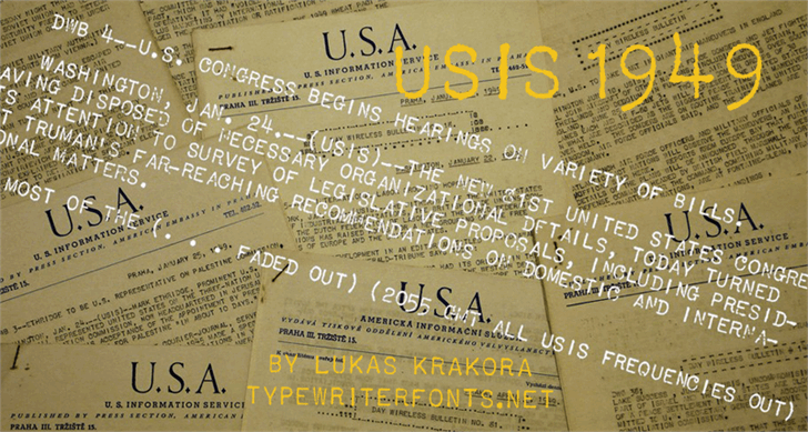 USIS 1949 Font handwriting text