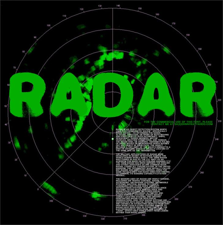 RADAR font by SAJI JOHNNY KUNDUKULAM