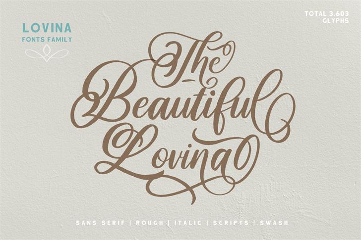 Beautiful Lovina Font handwriting typography