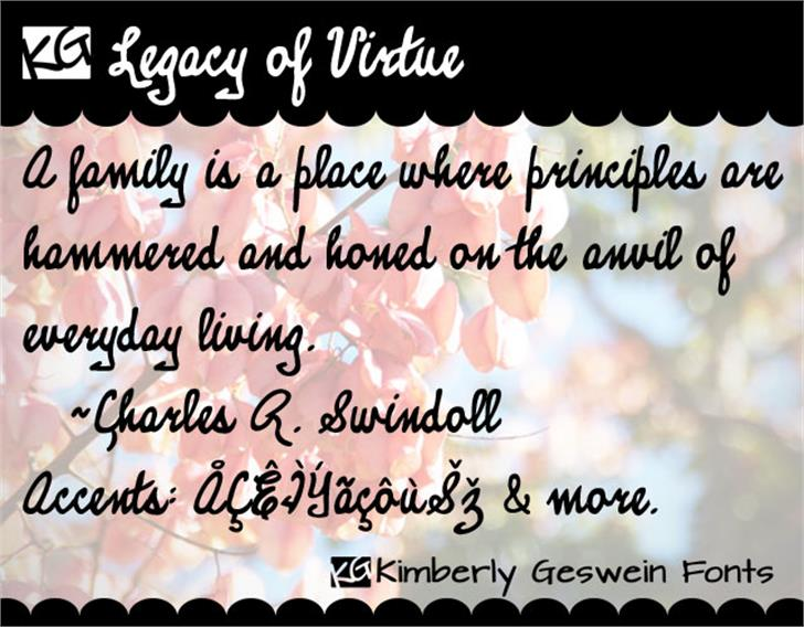 KG Legacy of Virtue Font text typography
