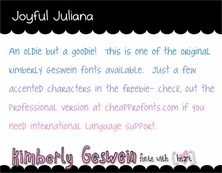Joyful Juliana Font design text