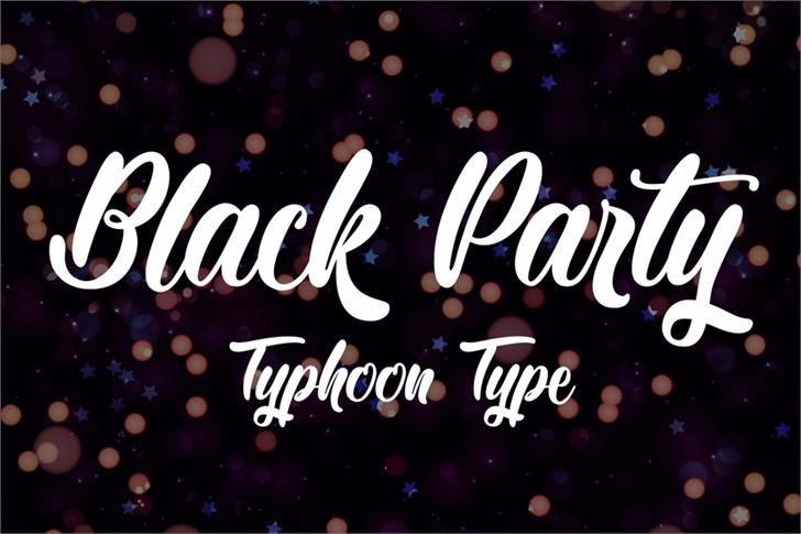 Black Party Font design fireworks