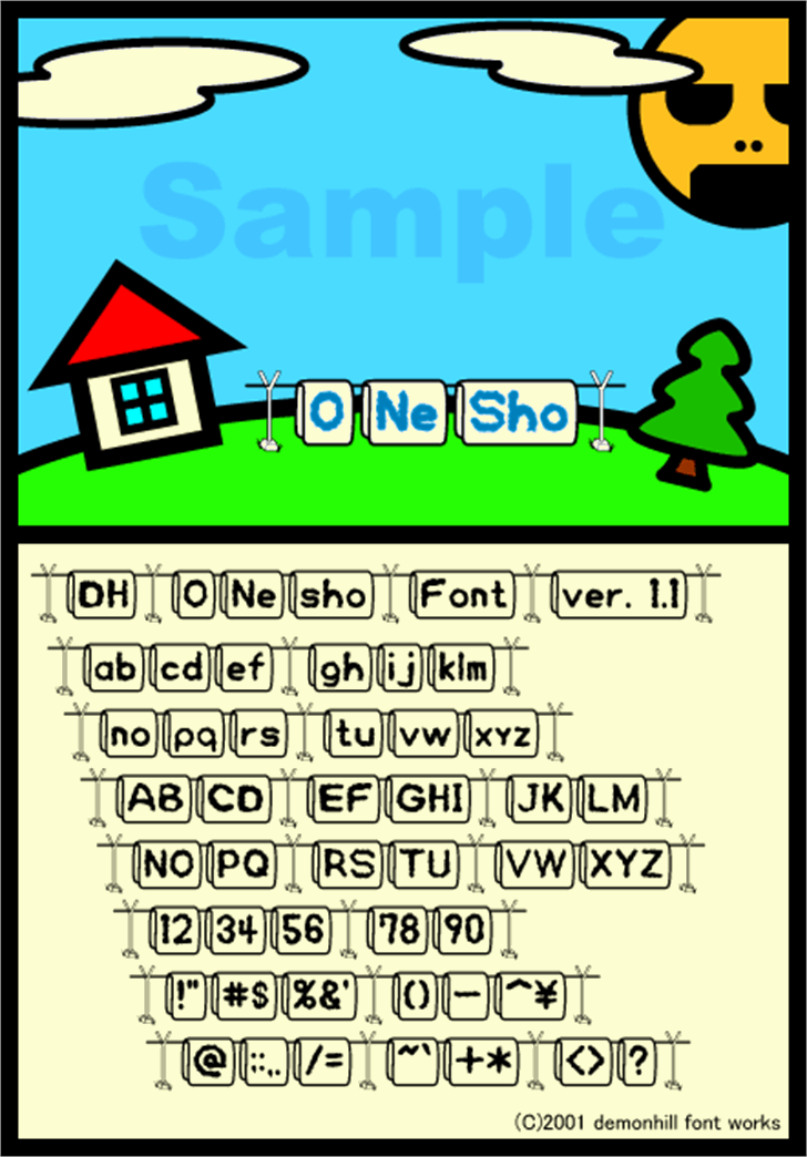 O-Ne-Sho Font cartoon screenshot