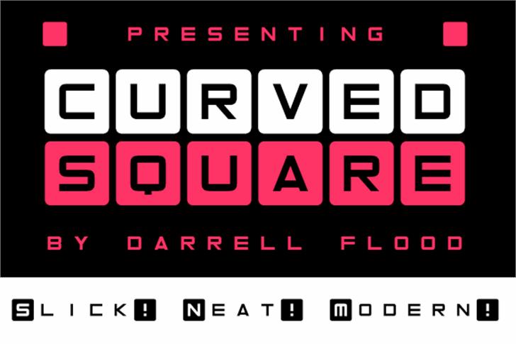 Curved Square Font screenshot design