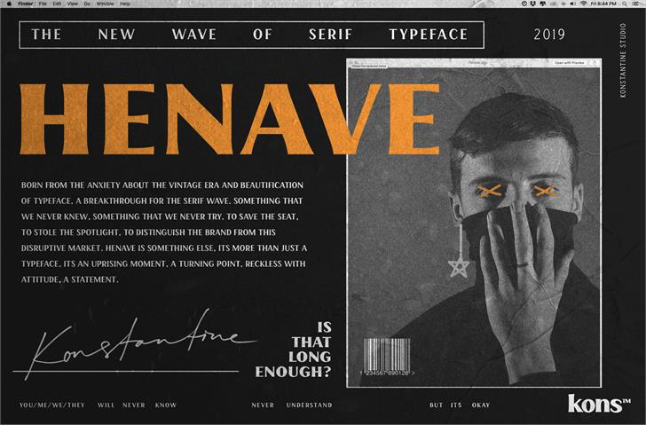HENAVE Regular DEMO Font text poster