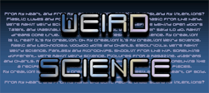 Weird Science NBP font by total FontGeek DTF, Ltd.