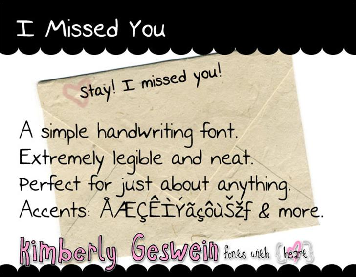 I Missed You Font handwriting text