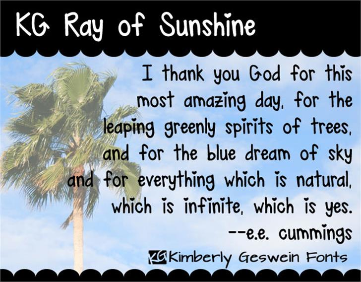 KG Ray of Sunshine font by Kimberly Geswein