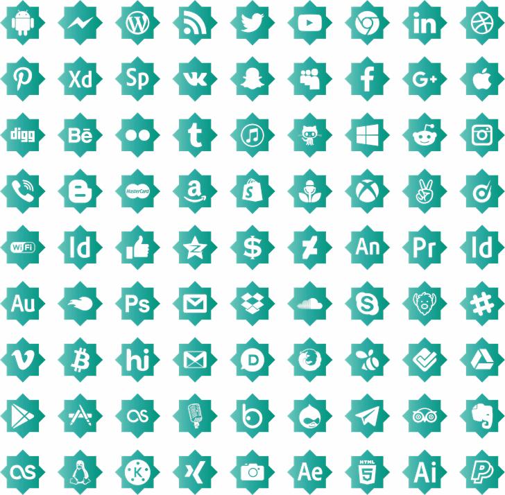 icons social media Font pattern design