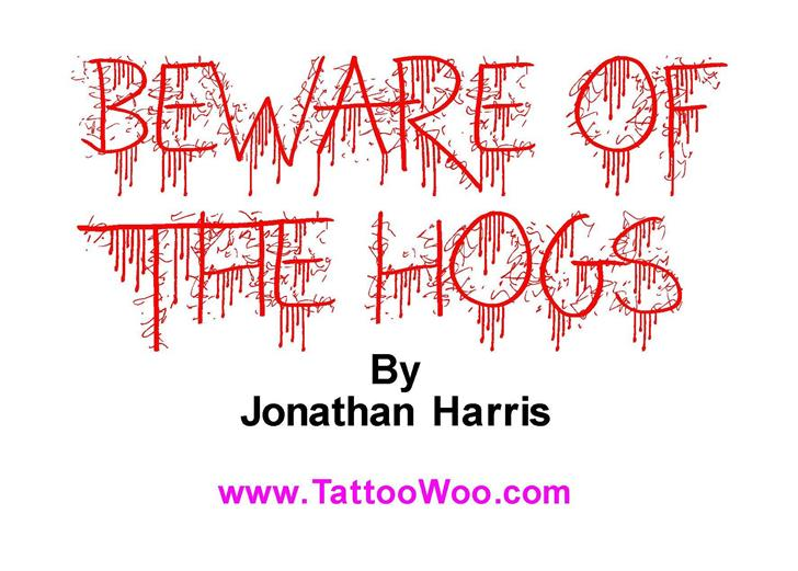 Beware of the Hogs Font screenshot design