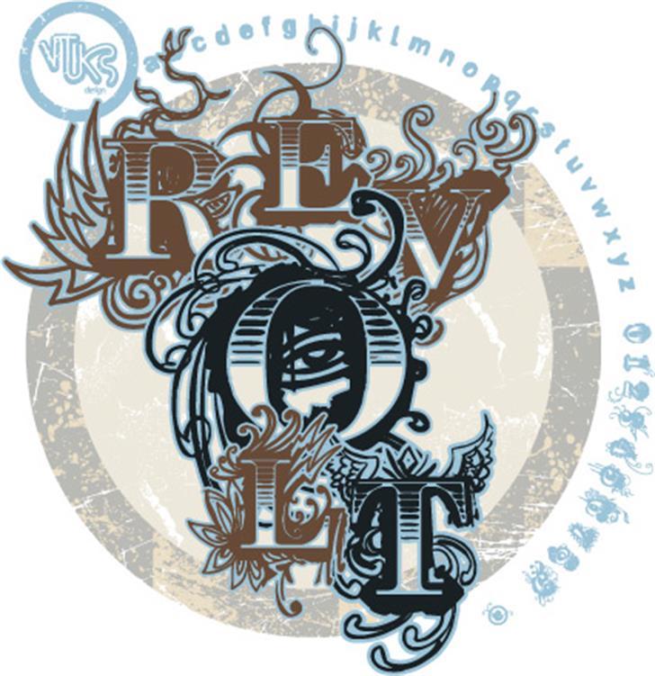 Vtks Revolt Font drawing sketch