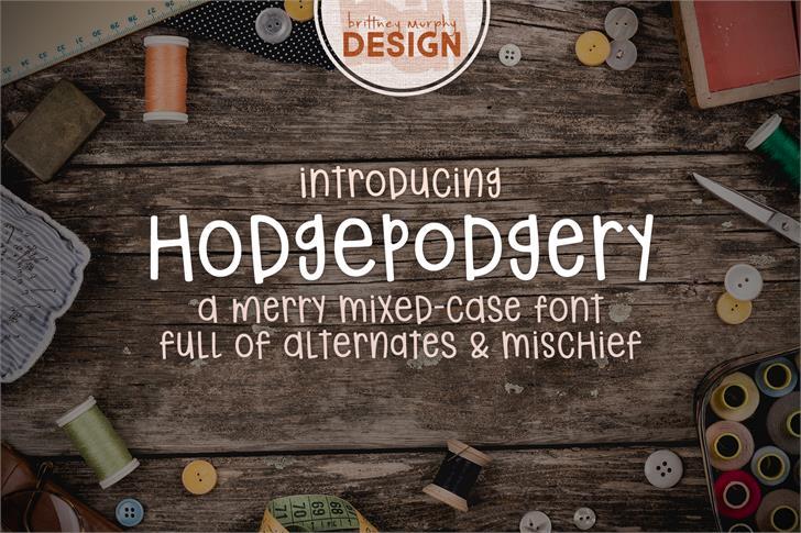 hodgepodgery font by Brittney Murphy Design