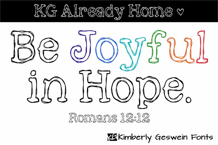 KG Already Home Font design cartoon