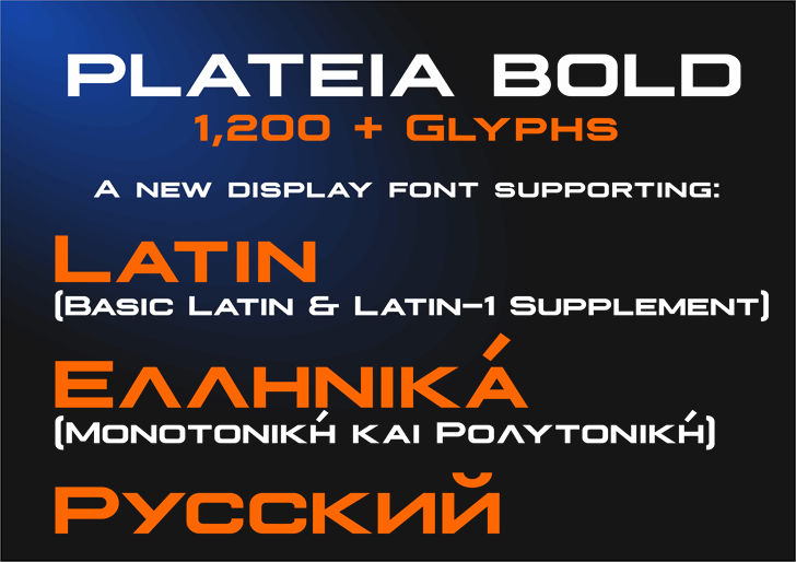 Plateia Font screenshot design