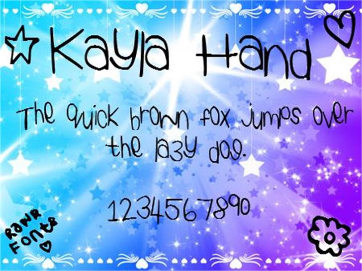 KaylaHand Font text screenshot
