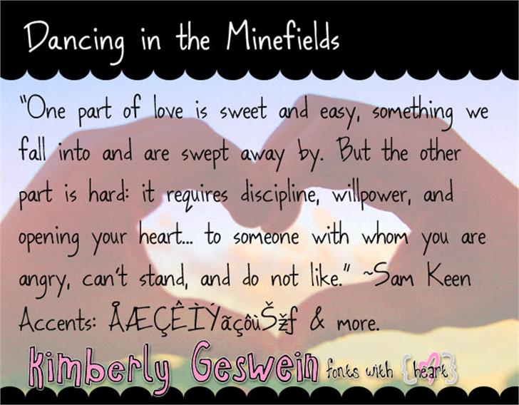 Dancing in the Minefields font by Kimberly Geswein
