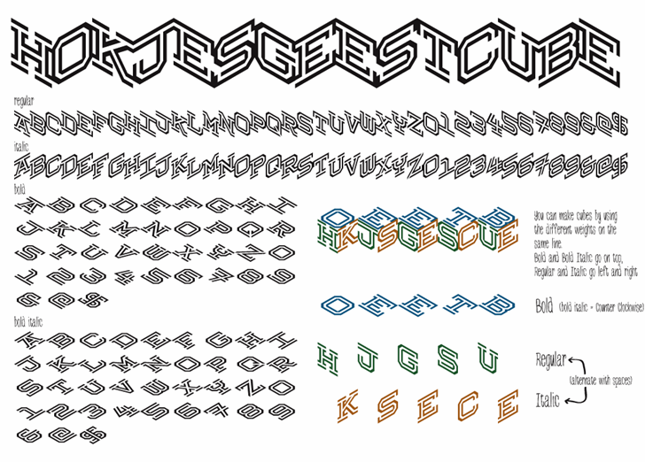 Hokjesgeestcube Font design text