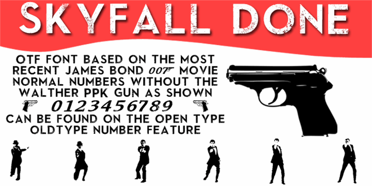 SkyFall Done Font rifle graphic